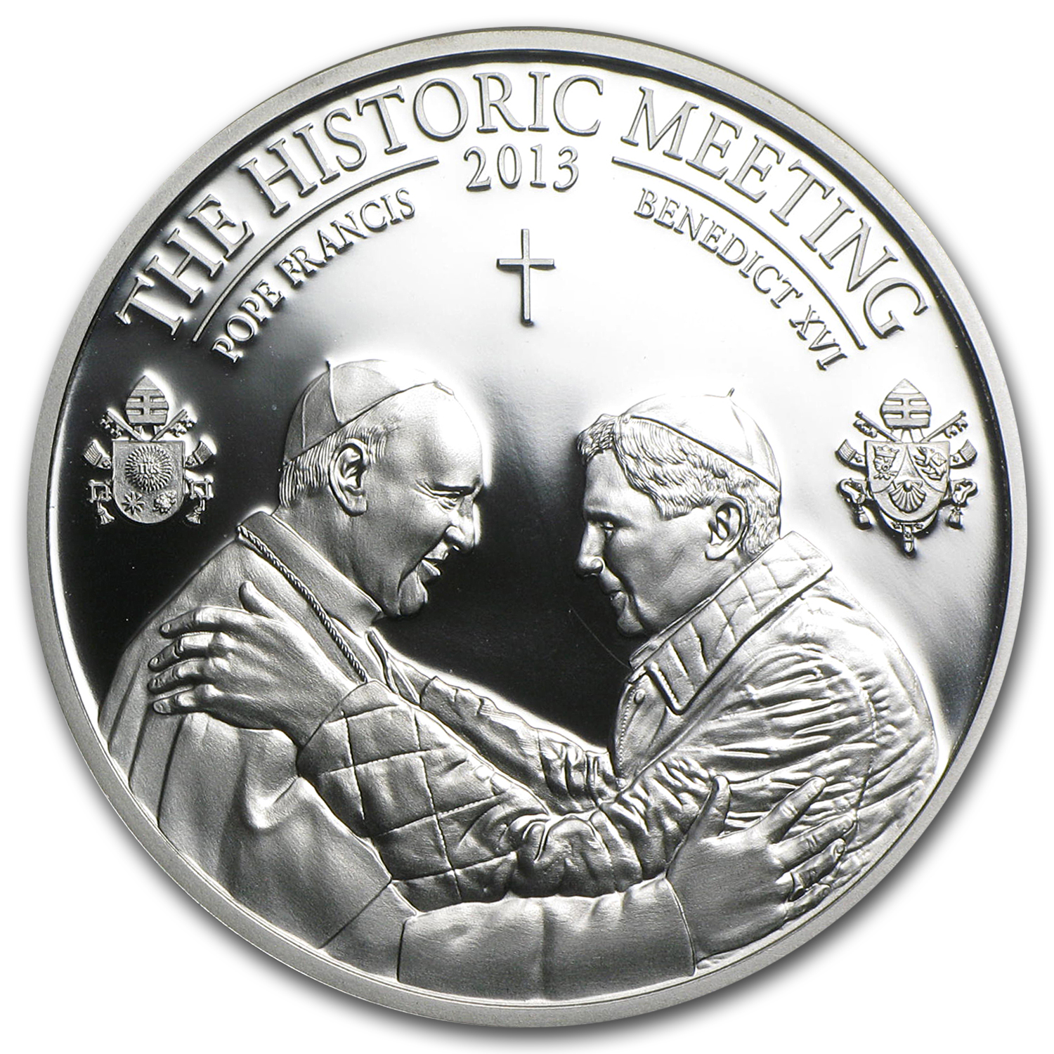 Palau 2013 Silver $5 The Historic Meeting - Two Popes
